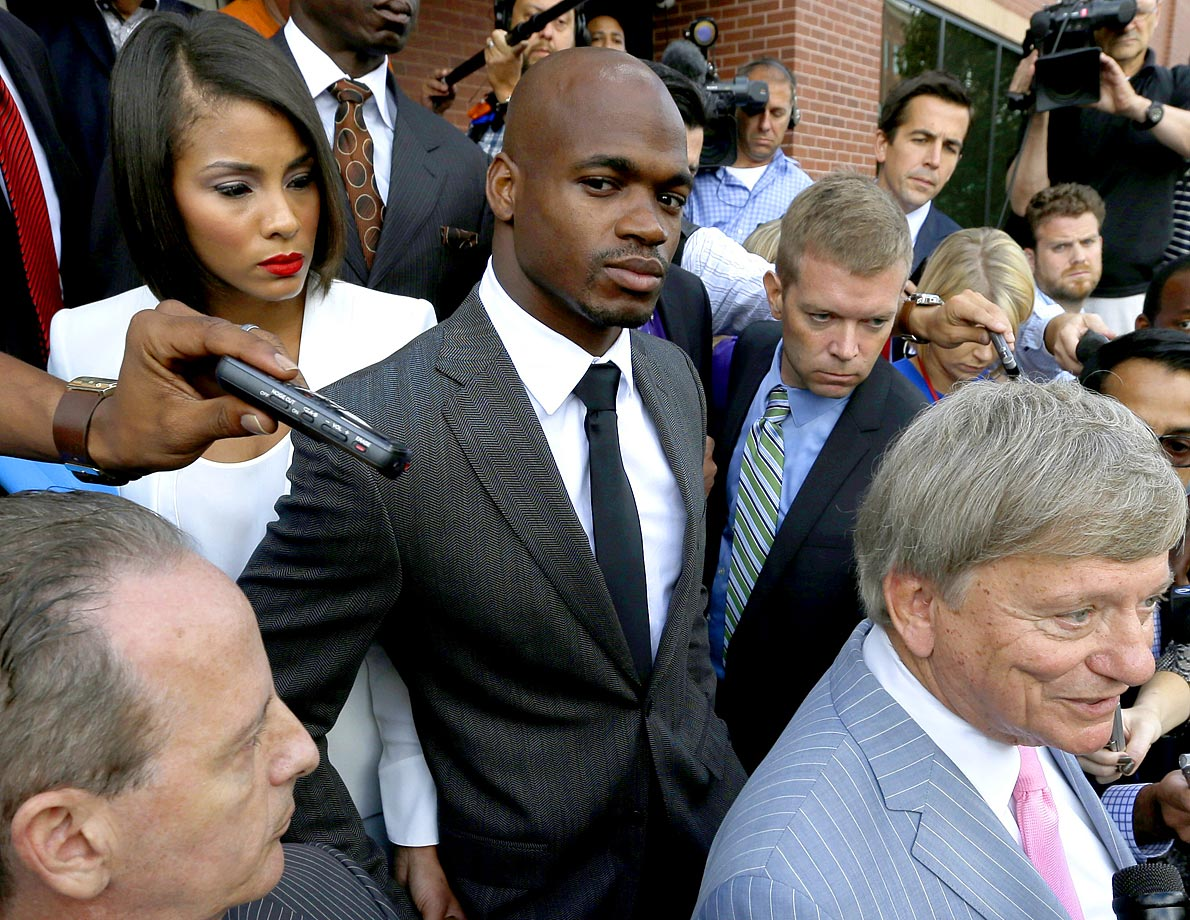 Minnesota Vikings running back Adrian Peterson is indicted on charges of reckless endangerment for punishing one of his children by severely punishing him with a switch. Peterson is eventually placed on the exempt list, and while he has reached a plea deal, his playing status is currently being contested.