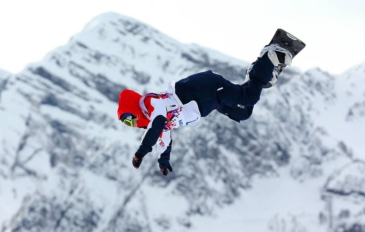 Aimee Fuller of Great Britain competes in the Snowboard Slopestyle semifinals.