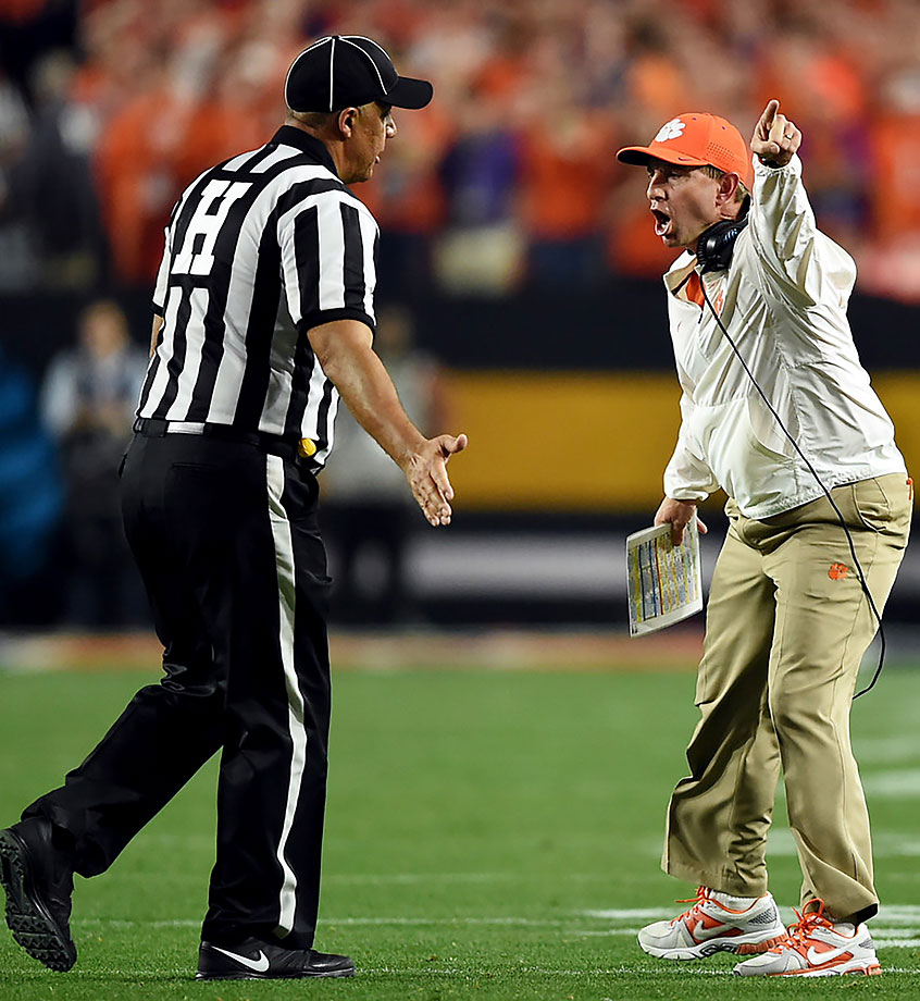 Clemson head coach Dabo Swinney expressed his displeasure with the officiating as the first half neared an end. The Tigers had just completed a pass to the 27 with 15 seconds to go. The clock stopped for a first down, but restarted so fast it was rolling before Deshaun Watson could stop it with a spike. A subsequent field goal attempt was blocked.