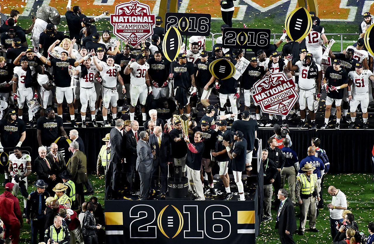 Alabama is the second team in college football's poll era (dating to 1936) to earn four titles in seven seasons.