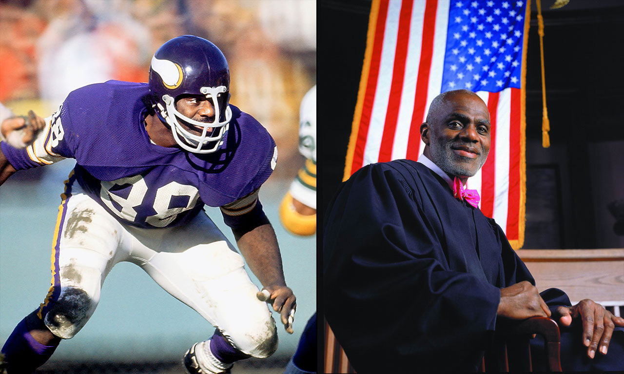 "A member of the famed ""Purple People Eaters"" in the 1970s, Page laid the groundwork for his post-NFL career even before he retired. While with the Vikings, Page attended University of Minnesota Law School, and in 1992 he was elected to an open seat as Associate Justice of the Minnesota Supreme Court. He was reelected in 1998, again in 2004, and for a final time in 2010: Minnesota has mandatory retirement for judges at age 70. Page was born on Aug. 7, 1945."