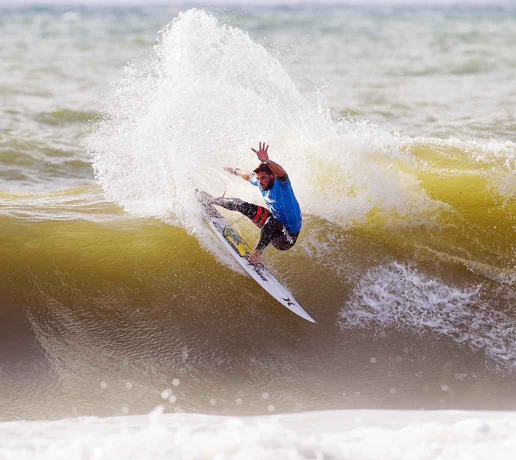 Alejo Muniz of Brazil rides a wave during Round 1 of the Moche Rip Curl Pro Portugal.