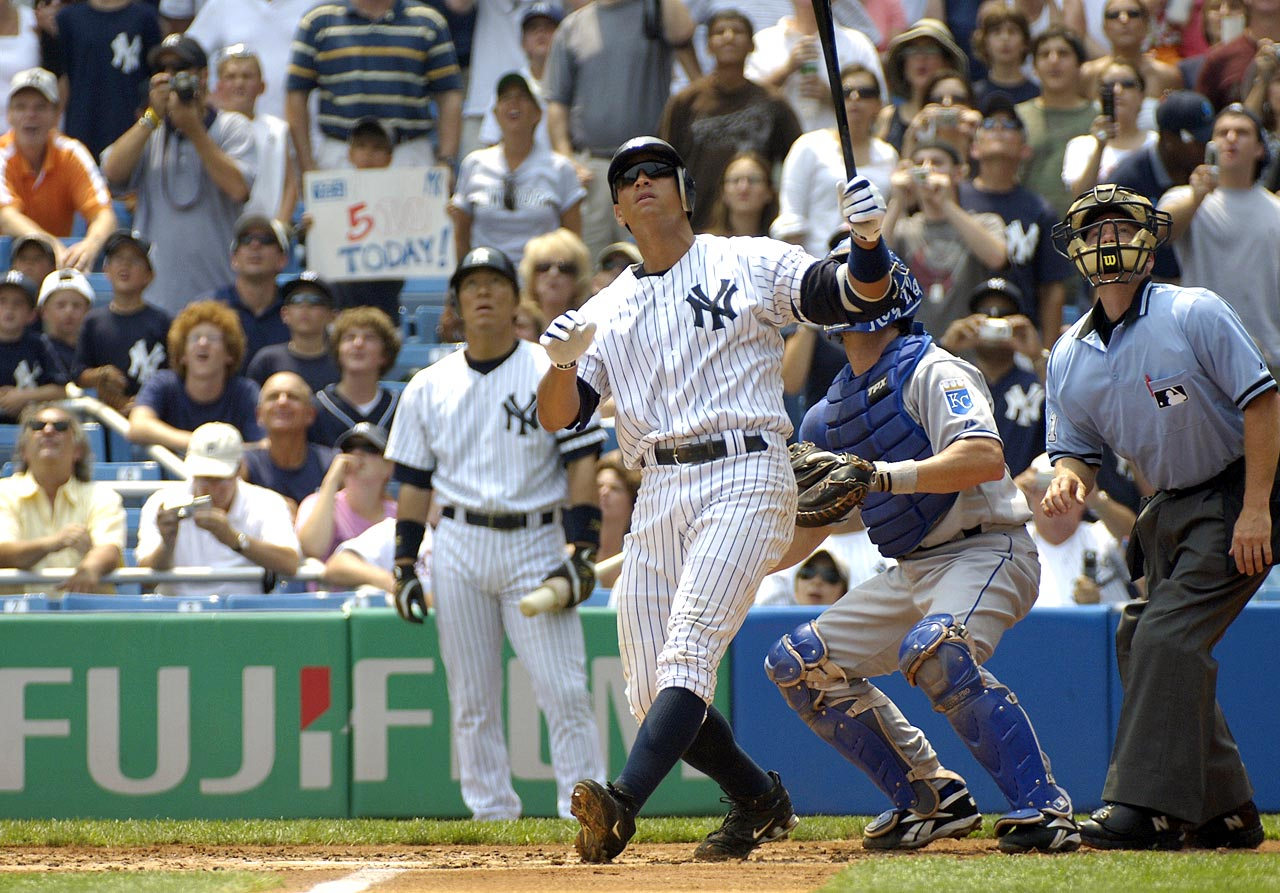 On August 4, 2007, just eight days after his 32nd birthday, Alex Rodriguez became the youngest player in major league history to hit 500 homers, joining the club with a three-run, first-inning homer on the first pitch he saw from Kansas City right-hander Kyle Davies.