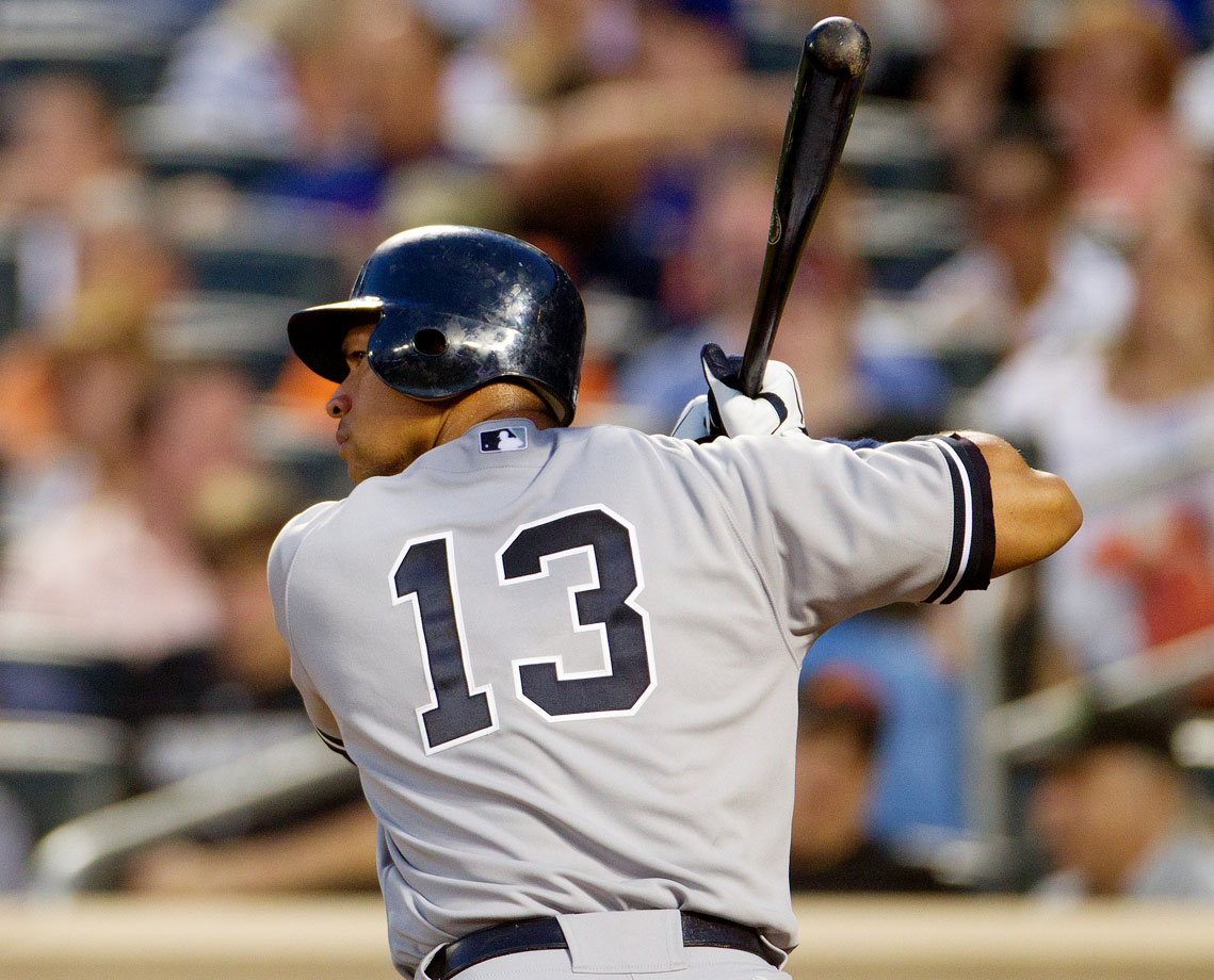 Rodriguez switched to No. 13 when he joined the Yankees in 2004. The following year, he won the American League MVP by batting .321 with 48 home runs. He won his second MVP in New York two years later. A-Rod hit at least 30 home runs and batted in 100 runs or more in each of his first seven years in New York.