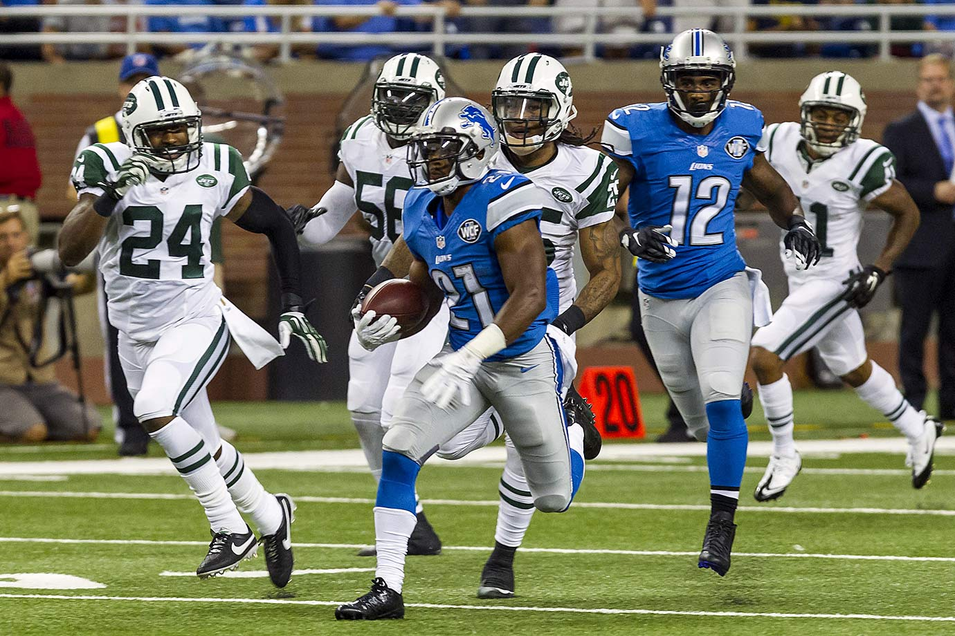 Abdullah could give the Lions a menacing trio of playmakers, joining Calvin Johnson and Golden Tate. He wasn't the first running back off the board in the draft, but you could argue he provides a better chance for profit than either Melvin Gordon or Todd Gurley in fantasy leagues this season. If all breaks his way, Abdullah could be a top-20 running back as a rookie.