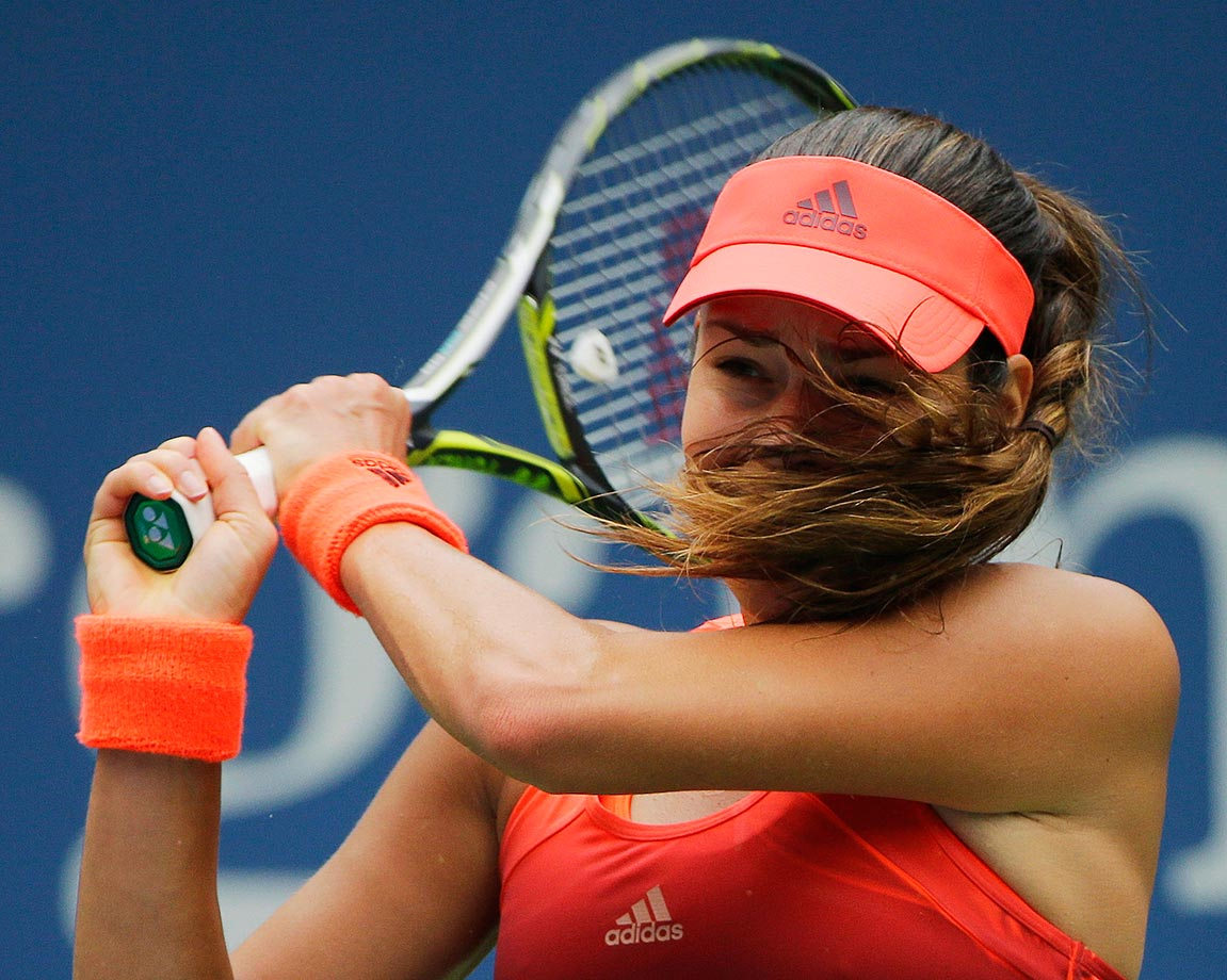 Ana Ivanovic get whipped by her hair in her loss to Dominika Cibulkova at the U.S. Open.