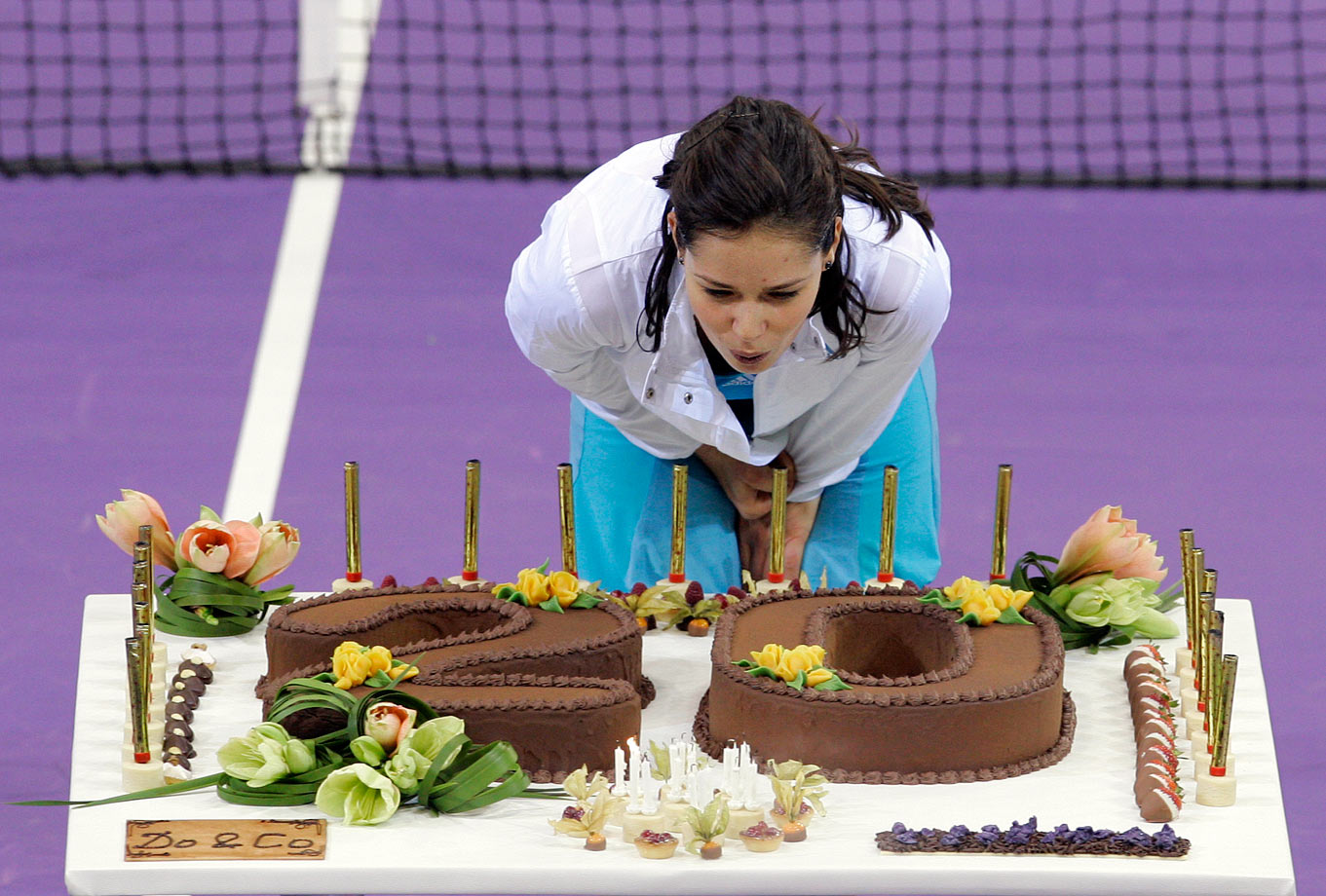 Serbian tennis player Ana Ivanovic was feted for her 20th birthday after beating Svetlana Kuznetsova in the semifinal of the 2007 Sony Ericsson Championships.