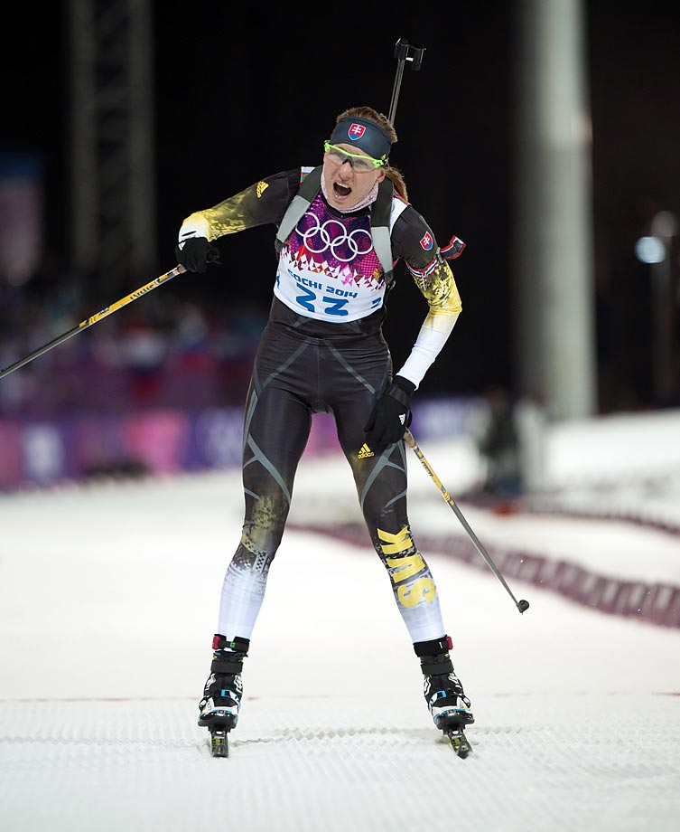 Anastasiya Kuzmina of Slovakia crosses the finish line to win the gold medal in the Womens 7.5 km Sprint.