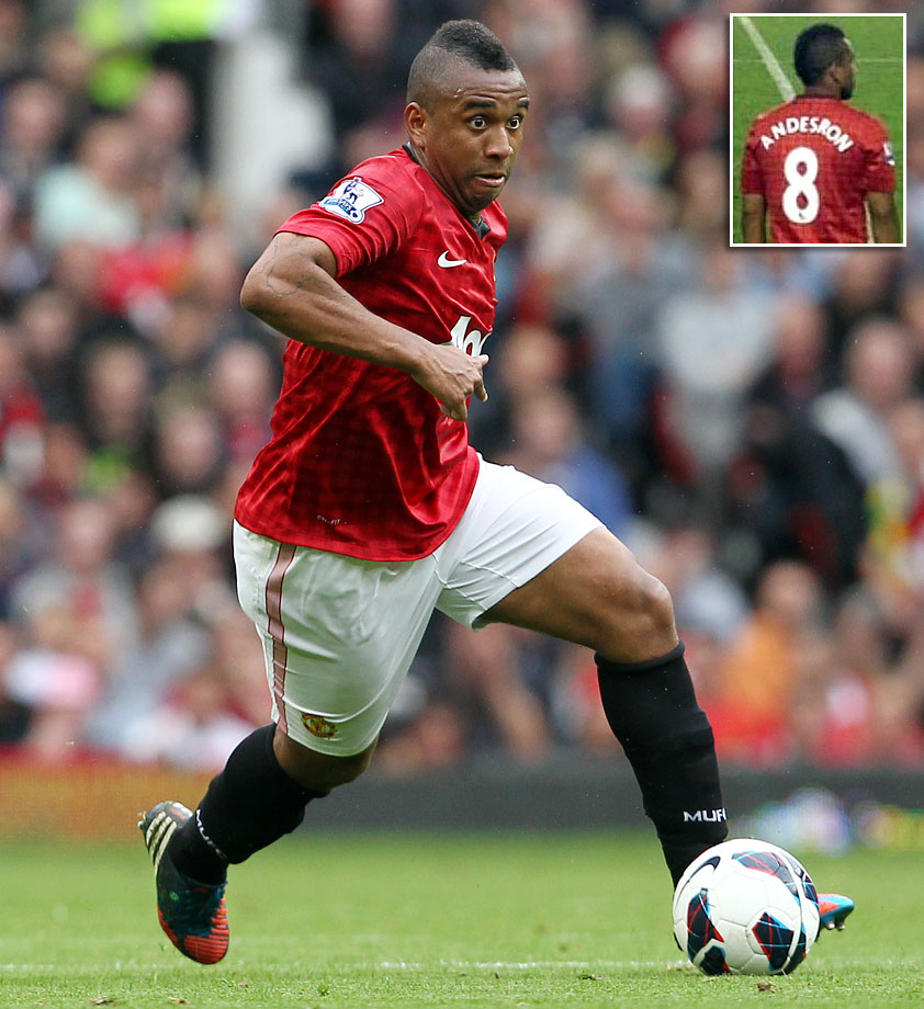 "Manchester United's midfielder Anderson took the field with the name ""ANDESRON"" displayed across the back of his uniform during a defeat to Everton on Aug. 20, 2012."