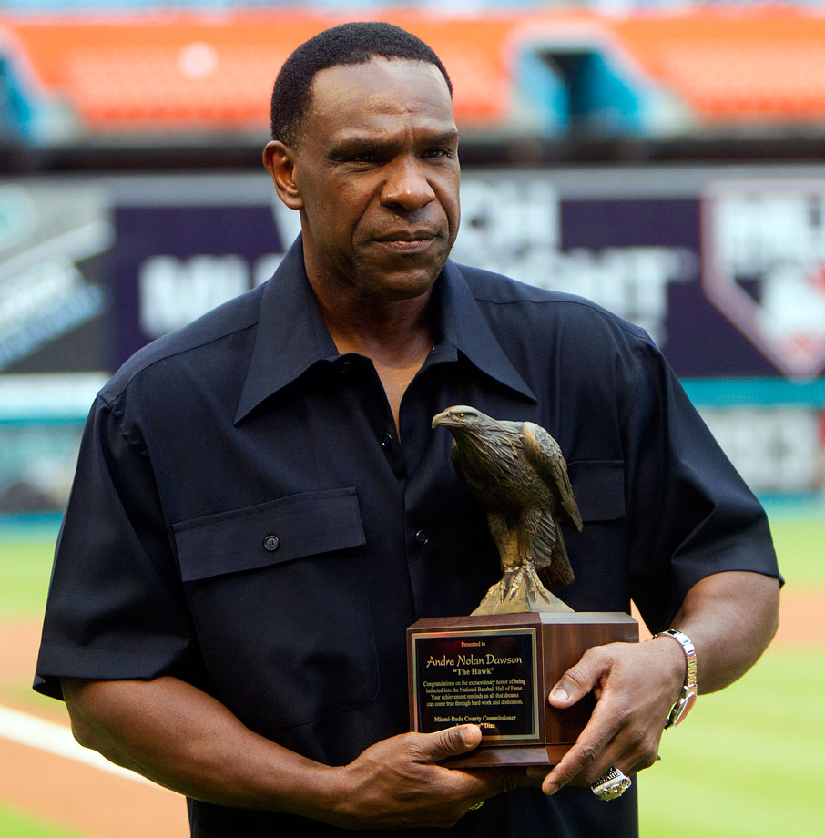 "Dawson was presented a trophy during ''Andre Dawson Appreciation Day'' in Miami prior to a Marlins game in Aug. 2010.  Dawson's nickname ""The Hawk"" was given to him at a very early age after his uncle told him most kids his age would shy away from ground balls, but Andre attacked the ball like a hawk."