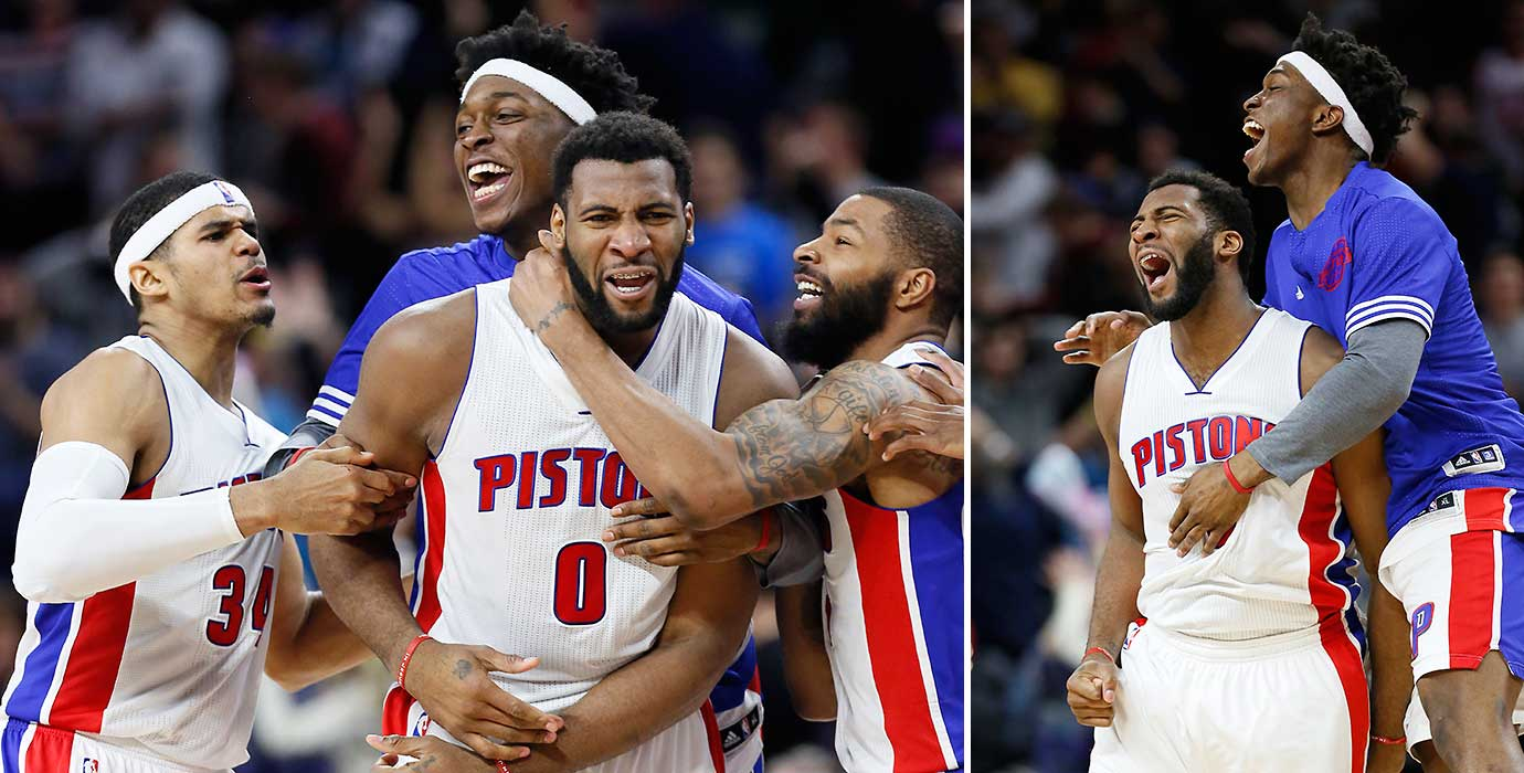 Andre Drummond celebrates with teammates Tobias Harris, Stanley Johnson and Marcus Morris after scoring the winning basket; and also with Stanley Johnson.