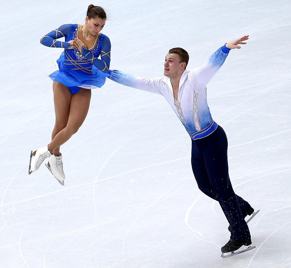 Andrea Davidovich and Evgeni Krasnopolski of Israel compete in the Figure Skating Pairs Free Skating.
