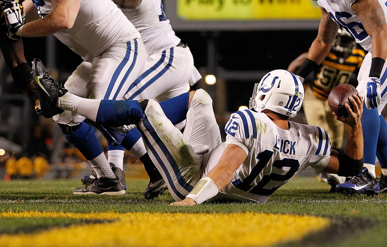 Andrew Luck of the Indianapolis Colts is called for intentional grounding resulting in a safety during the fourth quarter against the Pittsburgh Steelers.
