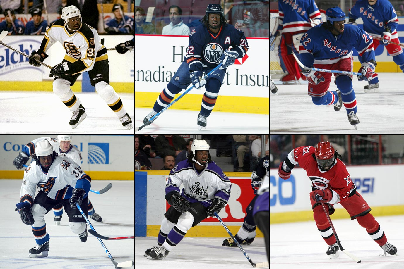 Colorado to Washington (4/3/96), Washington to Boston (3/1/97), Boston to Edmonton (11/15/00), Edmonton to NY Rangers (3/11/03), NY Rangers to Washington (1/23/04), Washington to Los Angeles (3/8/04), Columbus to Carolina (2/23/07)