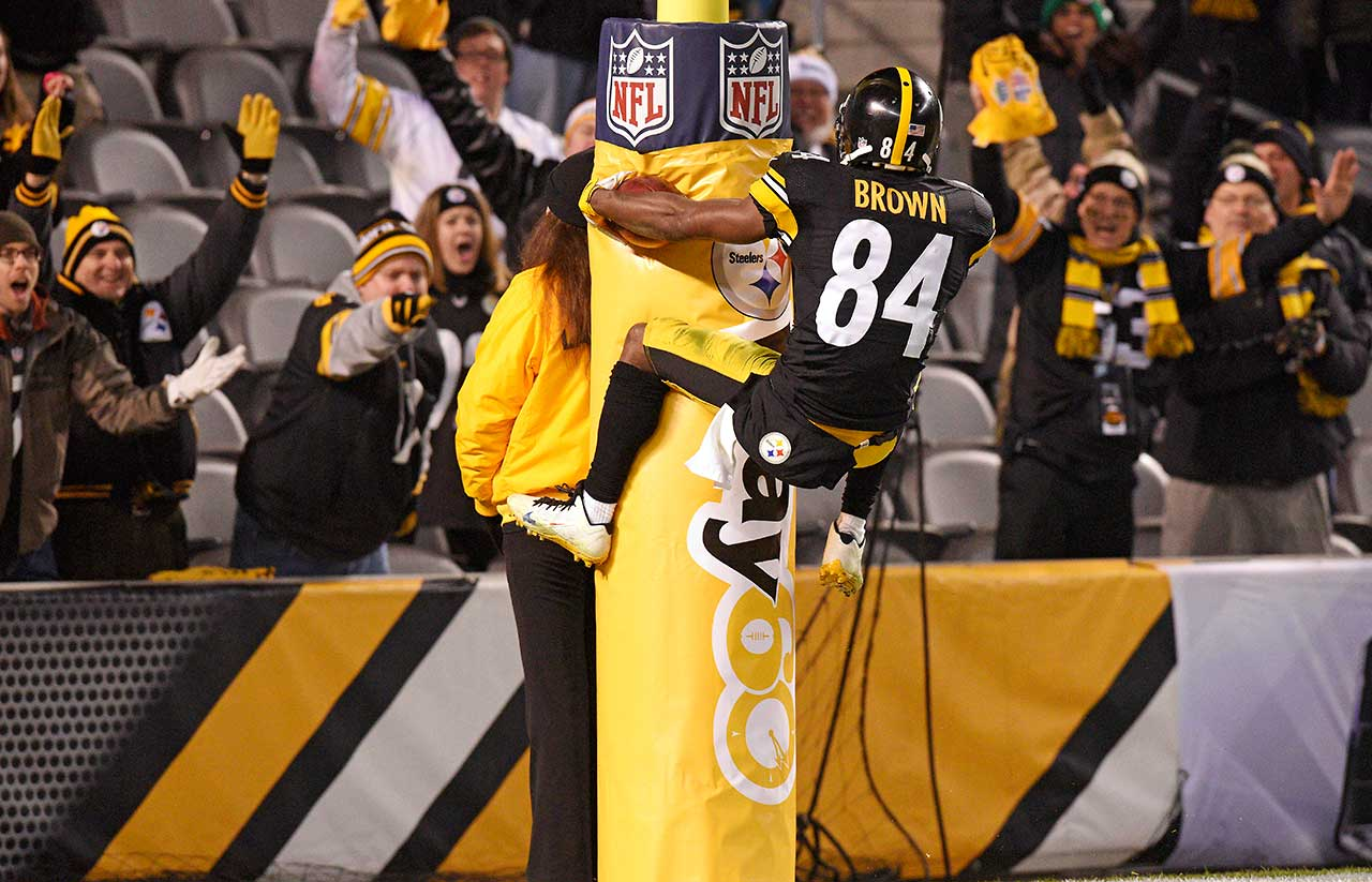 When he's not drawing excessive celebration flags for such antics as leaping on the goal post, Antonio Brown has proved he's one of the NFL's most versatile scorers. The speedy Pittsburgh receiver has reached paydirt 35 times on touchdown receptions, four times via punt return, once on a kickoff return and has three two-point conversions to his credit. His rarest scoring achievement was the three-yard TD pass he tossed to Lance Moore during a 30-23 victory over Houston in 2014. Here's a look at some other NFL players who have scored in four or more ways during their careers.