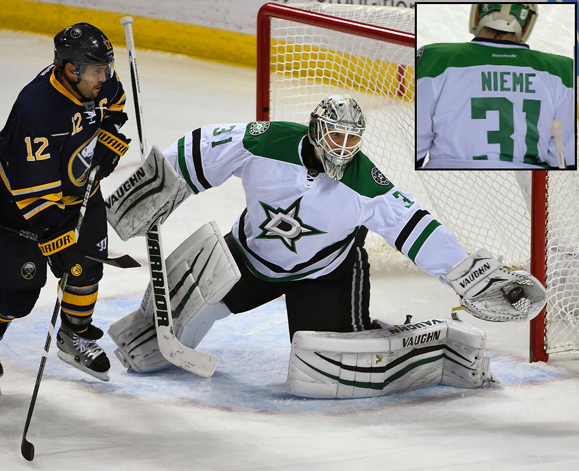 "Someone forgot the Finnish setting on spell check when making Stars goalie Antti Niemi's road jersey for a game in Buffalo on Nov. 17, 2015. The 32-year-old goalie came out for warmups with a No. 31 sweater that read ""Nieme."" The equipment crew either worked fast or had a correctly-spelled uniform readily available, because once the game started Niemi's name was right. The starting goaltender was able to avoid more embarrassment."