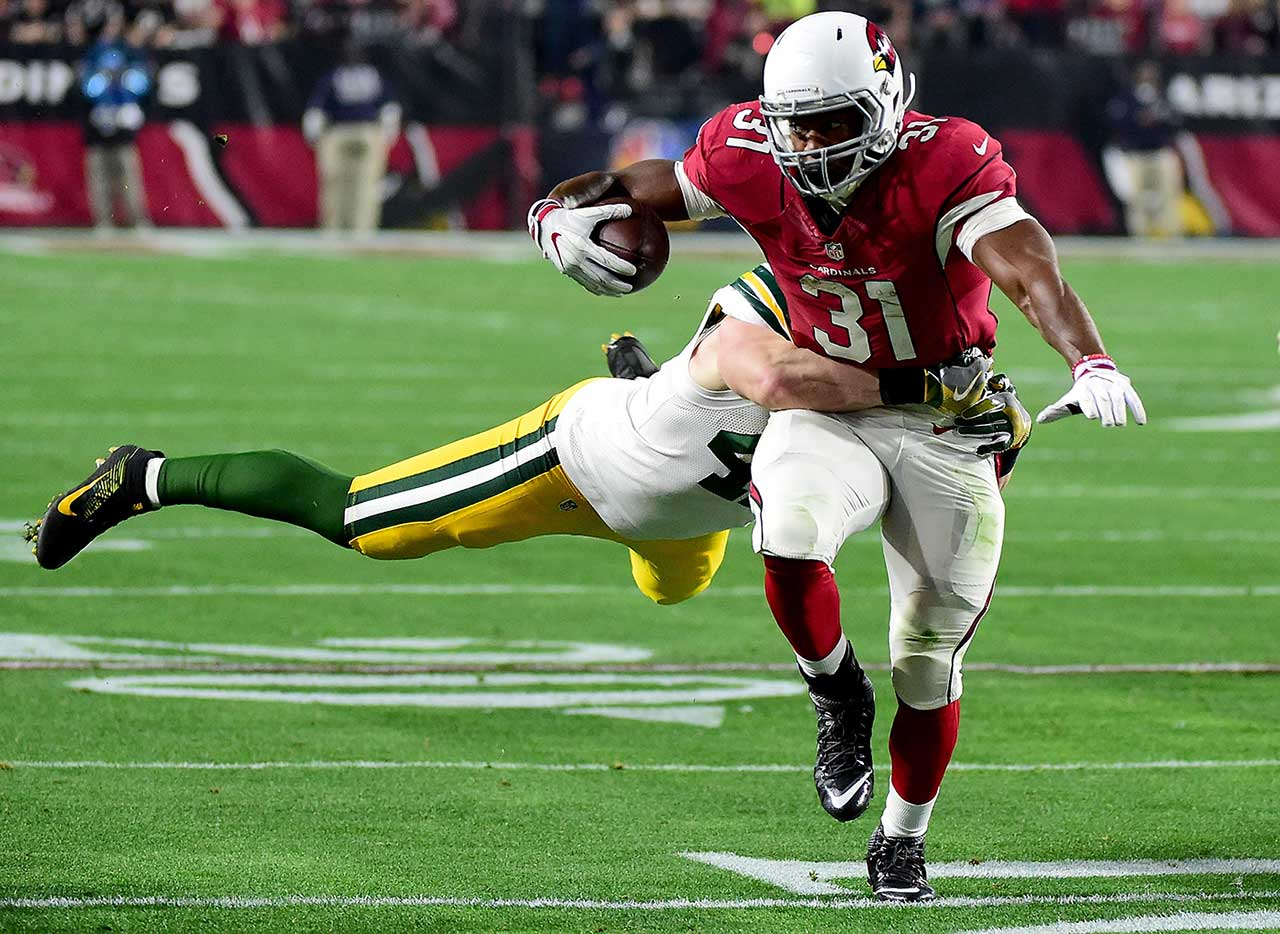 Rookie running back David Johnson had 78 total yards, 35 via the run.