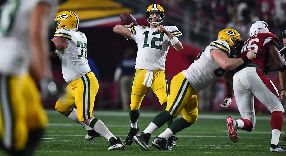 Aaron Rodgers completed 24 of 44 passes for 261 yards and two touchdowns with one interception.