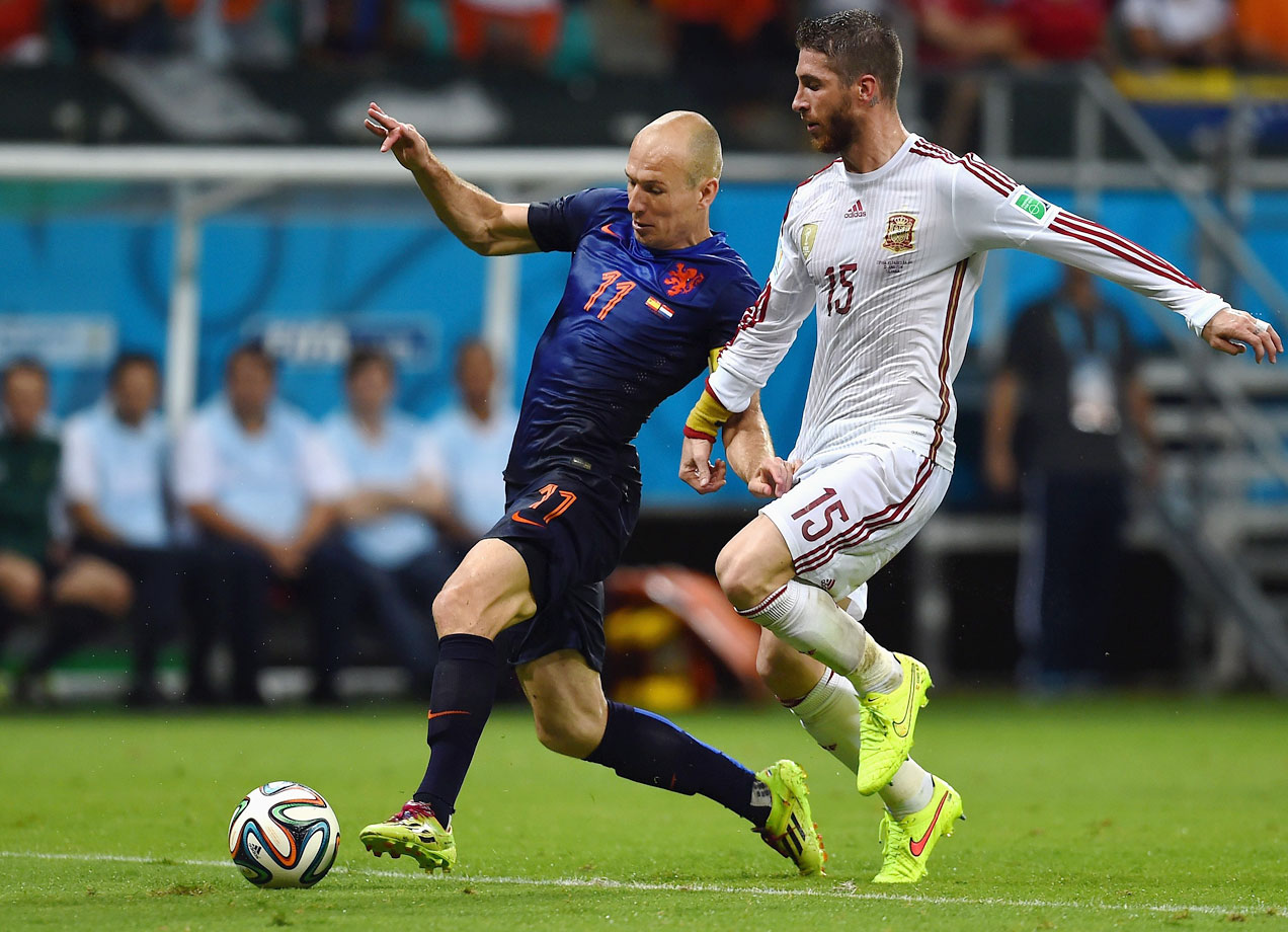 By the time they get to 30, most players have lost their extreme pace, but not Robben. In scoring against Spain, he was measured at running at 37kph, which is sub-10-second pace for the 100 meters. Not only has he not got any slower, but Robben's decision-making has improved with age. He has been admirably clinical not only with his finishing but with his passing, as he showed by leading the break and laying on the second goal against Chile. He just edges out Neymar, the Brazil maestro who is tied with Messi and Thomas Muller for the competition lead in goals with four.