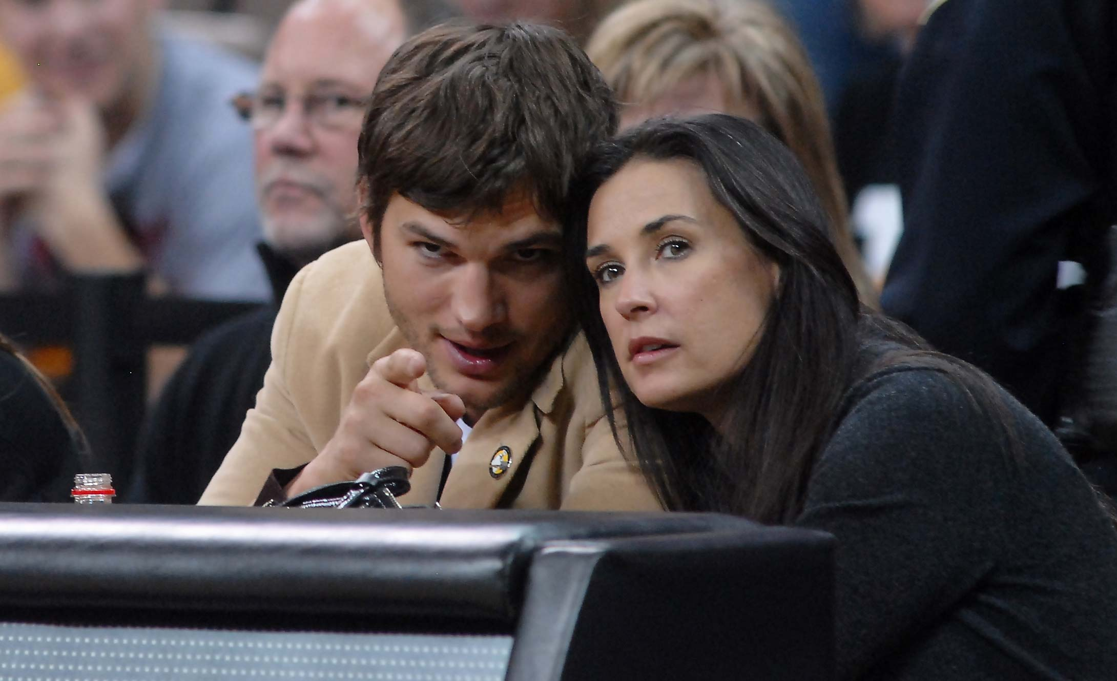 Ashton Kutcher and Demi Moore at a 2008 game between Iowa-Iowa State in Iowa City.