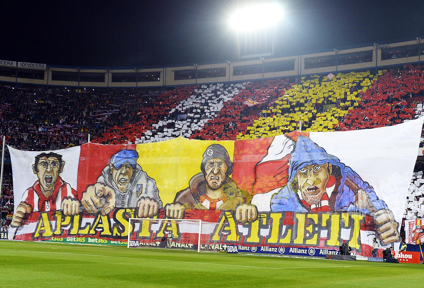 "Atletico's supporters display a banner reading ""Atleti crushes"" before the Spanish league match between Atletico Madrid and FC Barcelona at the Vicente Calderon stadium in Madrid,"