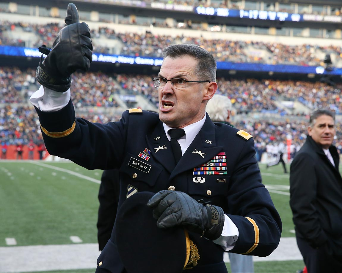 This colonel was trying to get the West Point fans fired up during the game against Navy.