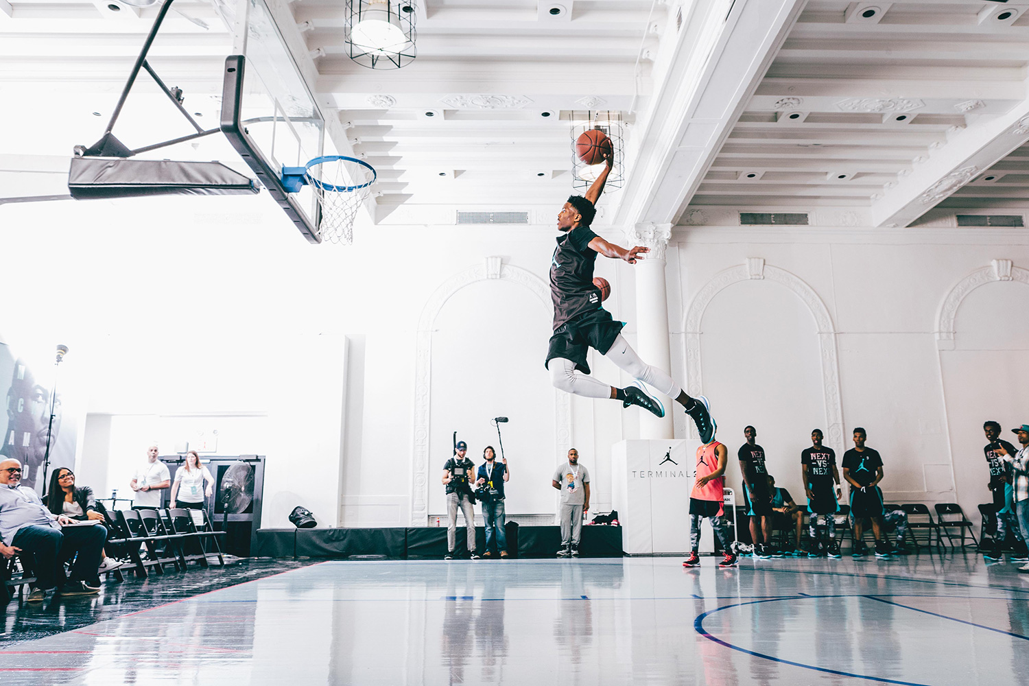 The West team practice seemed to grow in intensity by the minute, with LSU-bound Blakeney catching fire and throwing down several impressive dunks. Here Malik Beasley rises for the slam.