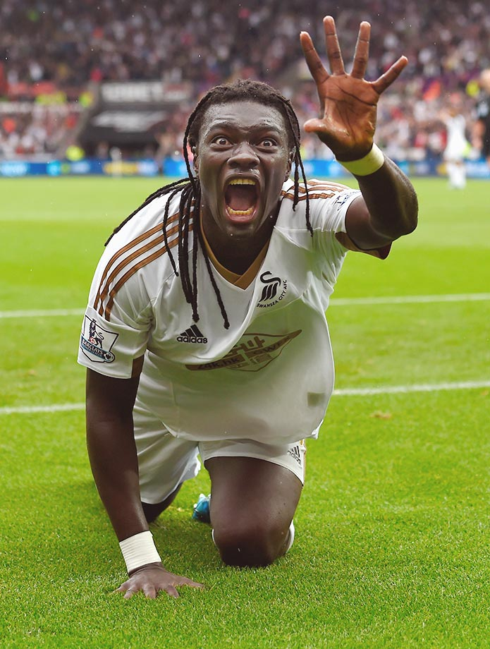 Bafetimbi Gomis of Swansea celebrates after scoring against Manchester United.