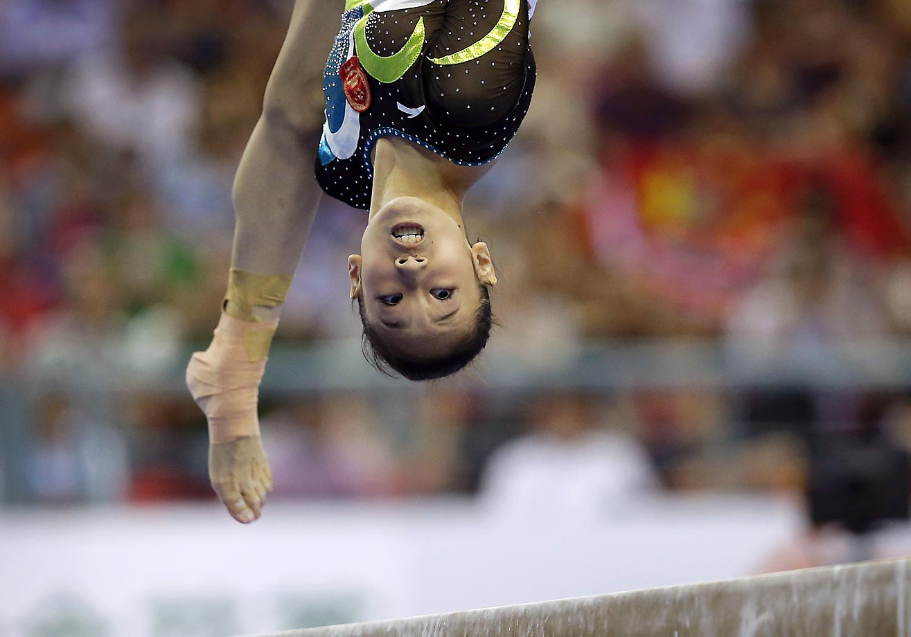 China's Bai Yawen during the balance beam final at the Artistic Gymnastics World Championship.