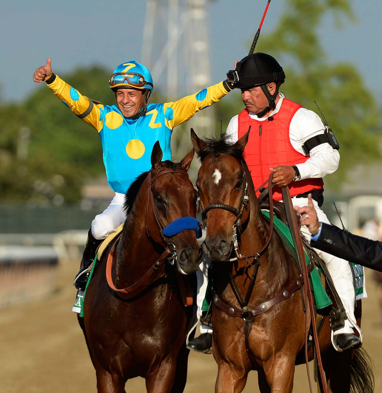 Jockey Victor Espinoza ended his own frustrating history in the Triple Crown. He got it done with his record third shot after failing to win in 2002 and in 2014 on California Chrome. (Text credit: AP)