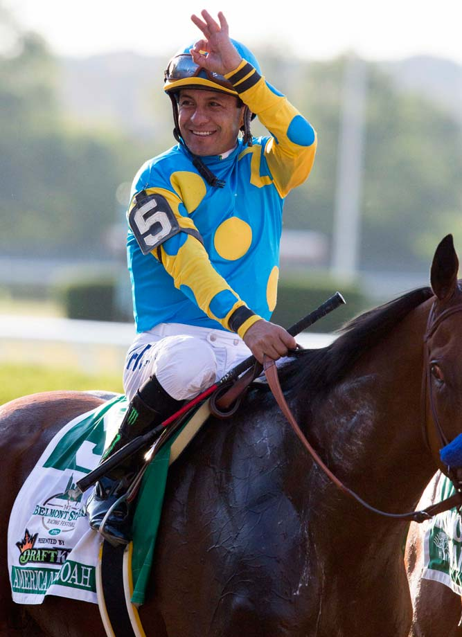 Before demolishing his rivals on Saturday, American Pharoah won the Kentucky Derby by one length on May 2 and then romped to a seven-length victory in the rainy Preakness two weeks later. (Text credit: AP)