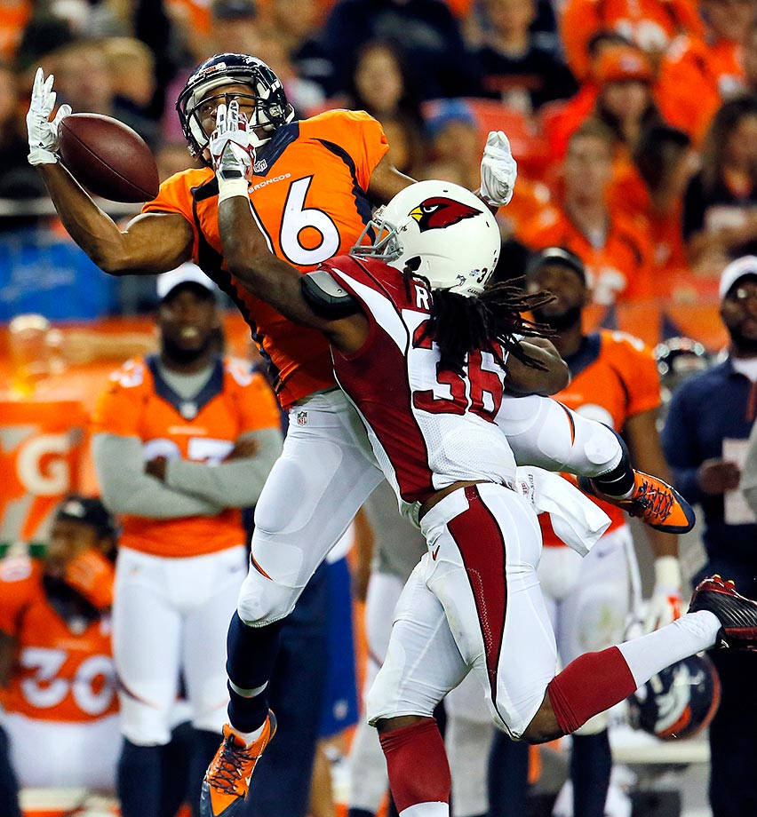 Bennie Fowler can't make the catch as C.J. Roberts defends.