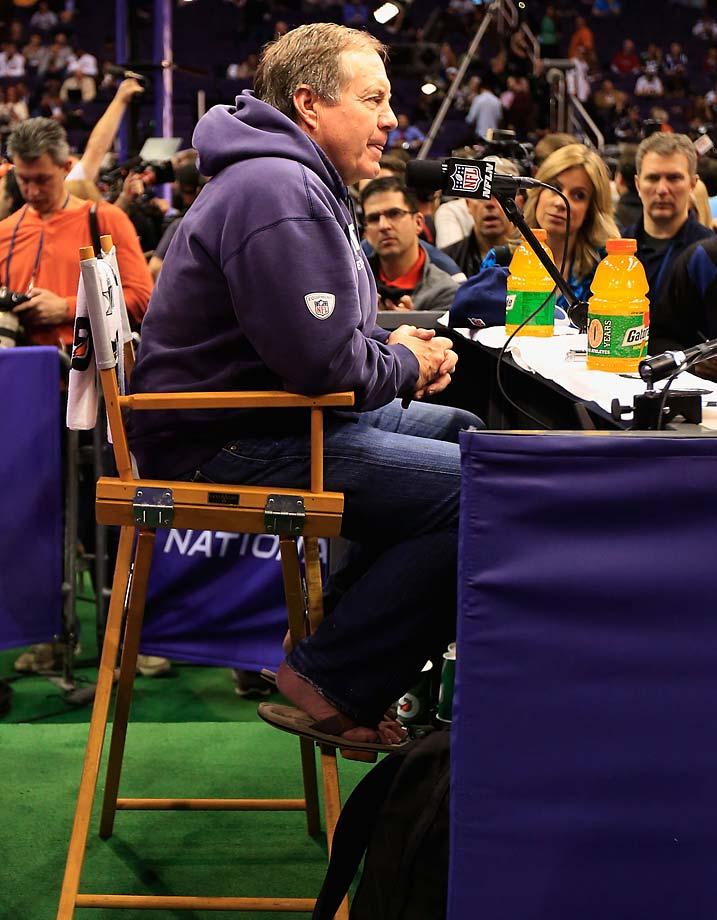 Bill Belichick was sporting flip flops at media day.