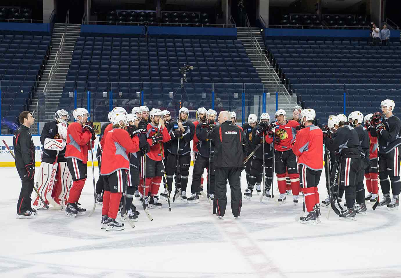 After losing an epic seven-game Western Conference Finals against the Kings, coach Joel Quenneville's Blackhawks arrive in camp with their core—Patrick Kane, Jonathan Toews, Patrick Sharp, Marian Hossa, Brent Seabrook, Duncan Keith—intact plus new additions such as veteran free agent Brad Richards and highly-touted prospect Teuvo Teravainen. With the West and Central Division stacked with tough teams, winning their third Stanley Cup since 2010 looks like a stiff challenge.