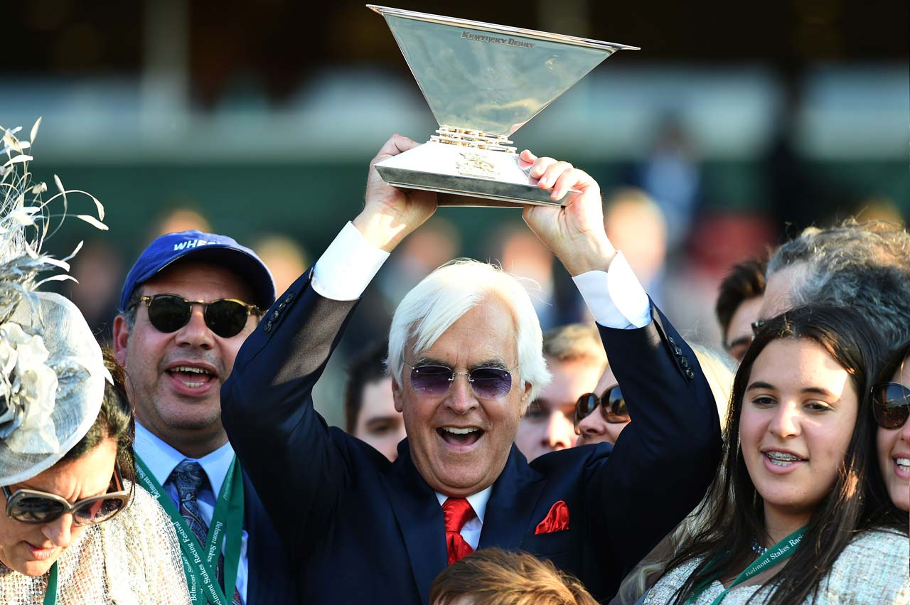 American Pharoah finally made a Triple Crown winner out of trainer Bob Baffert, who won on his record fourth Triple try, having lost in 1997, 1998 (by a nose) and in 2002.  (Text credit: AP)