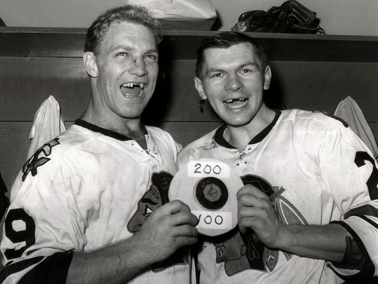 During their 13 full seasons together with the Blackhawks, the two forwards produced a combined four Hart Trophies, seven scoring titles, and the Stanley Cup in 1961. Statues of the Golden Jet and his slick playmaking sidekick Stosh can be found outside the United Center.