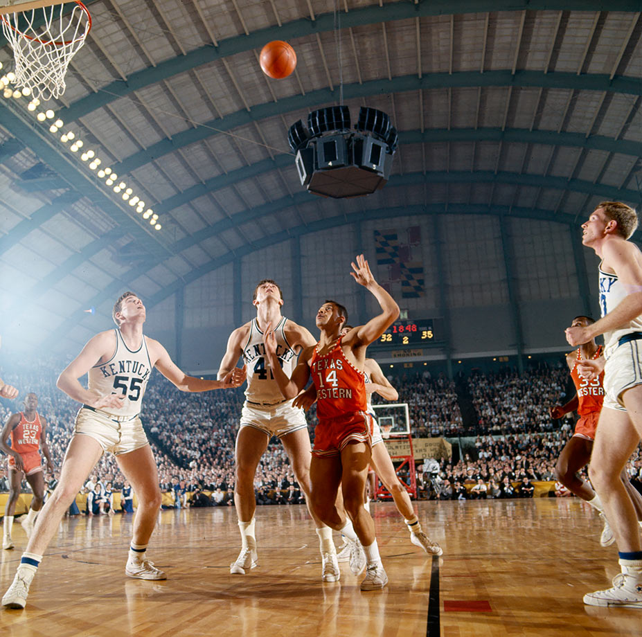In a game that went well beyond basketball, Hill was the star. Playing against an all-white Kentucky team, Texas Western became the first squad with an all-black starting five to win the 1966 national championship, beating the Wildcats 72-65. Hill led all scorers with 20 points and set the tempo for the Miners' win early with steals on Kentucky's Louie Dampier and Tommy Kron. Hill dominated games even without a historically significant spotlight, scoring 18 points with 11 rebounds in Texas Western's Final Four win over Utah and 22 points in an overtime victory against Kansas in the Elite Eight.