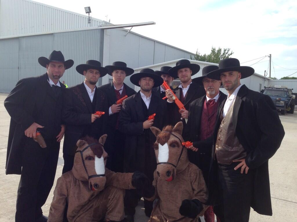 And, for good measure, here are the Brewers, young and old, on a roadtrip back in June dressed as wranglers...