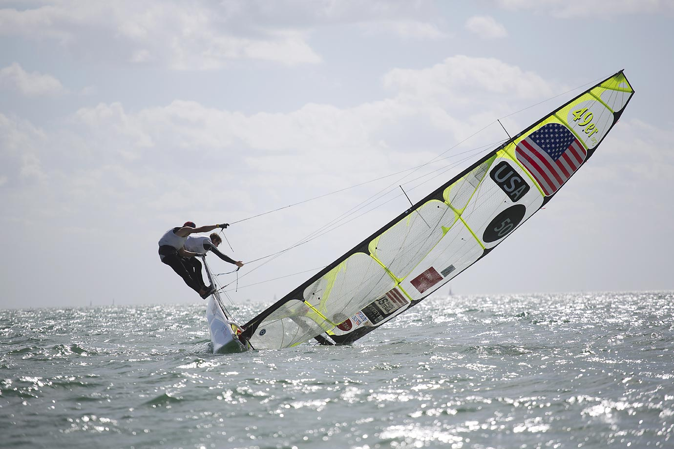 Brad Funk and Trevor Burd of the U.S. try to keep their 49ers class boat upright during the ISAF Sailing World Cup.