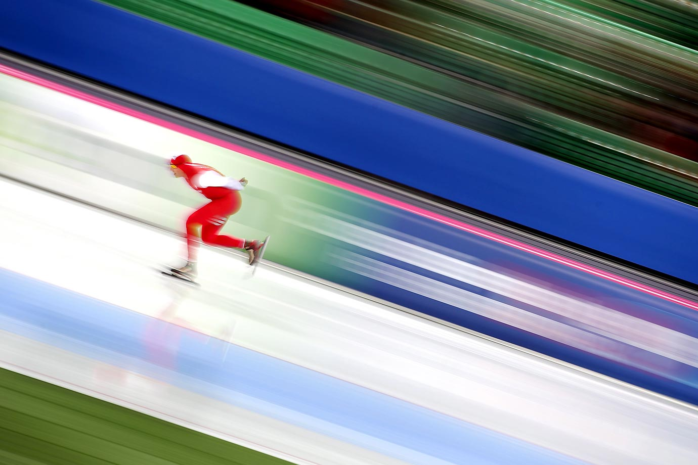 Bram Smallenbroek of Austria in the 5000-meters race at the ISU Speed Skating World Cup in Norway.