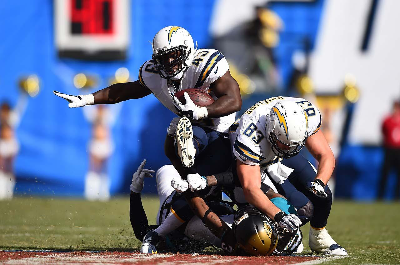 Pressed into action because of injuries to the Chargers running back corps, Branden Oliver carried the ball nine times for a team-high 23 yards against Jacksonville.