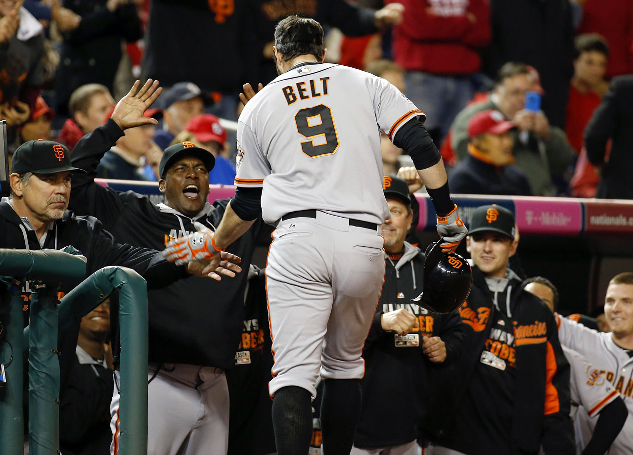Brandon Belt's 18th-inning home run lifts the San Francisco Giants past the Washington Nationals in Game 2 of the NLDS, which was tied for the longest game in playoff history.