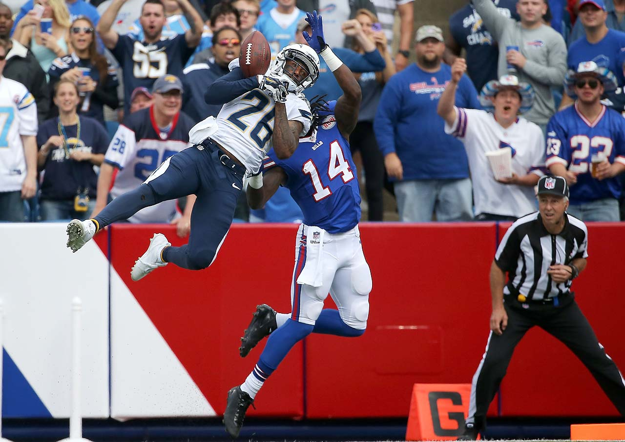 Sammy Watkins of the Buffalo Bills has a reception broken up by Brandon Flowers of San Diego.