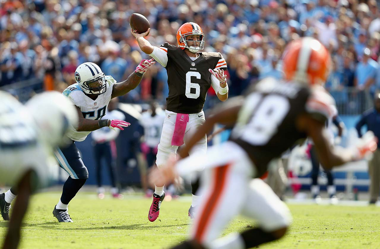The Browns overcame a 25-point deficit in defeating Tennessee 29-29 in Nashville in Week 5 of the 2014 season. Quarterback Brian Hoyer threw this six-yard scoring pass to Travis Benjamin for the winning points with 1:09 remaining.