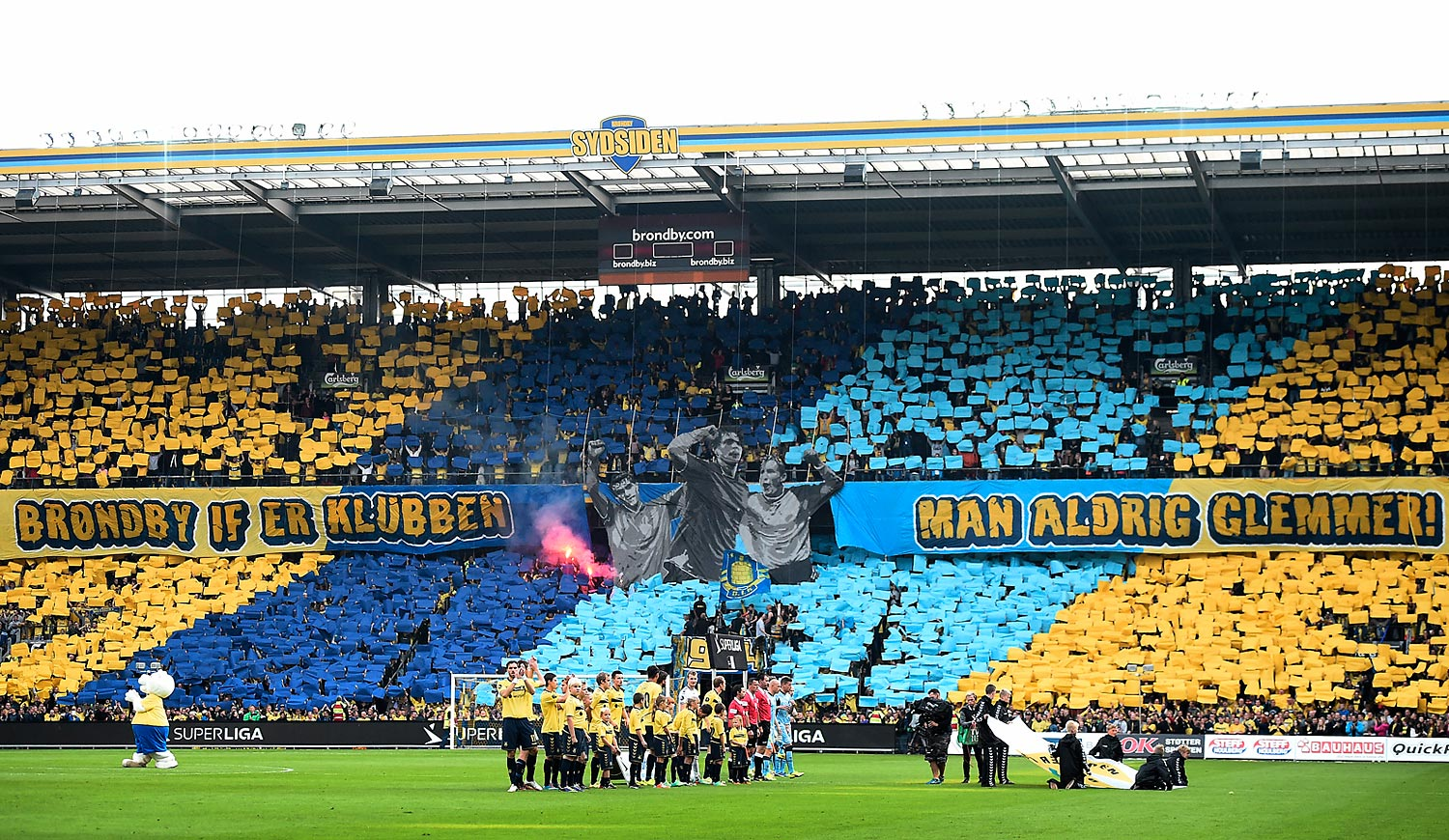 Brondby IF fans unveil a tifo ahead of a match in Denmark against Randers FC.