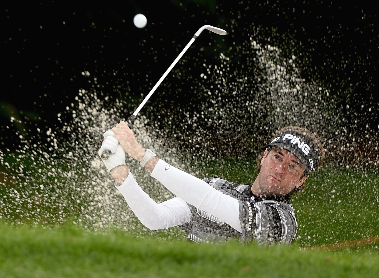 Bubba Watson plays his third shot on the par four 3rd hole during the final round of the WGC-HSBC Champions in Shanghai, China.