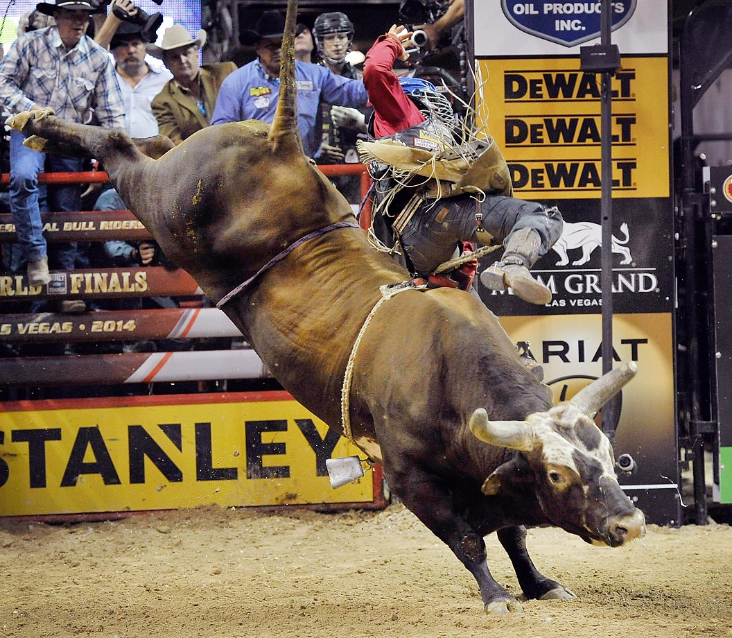 Rider Mike Lee is bucked off of Bushwacker during the bull's final ride before his retirement, at the 21st Professional Bull Riders Built Ford Tough World Finals in Las Vegas.