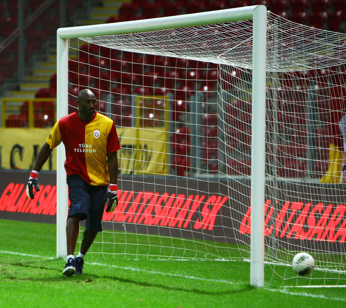 NBA basketball player Kobe Bryant during Galatasaray Football team training at the Turk Telekom Arena Stadium in Istanbul, Turkey in 2011.