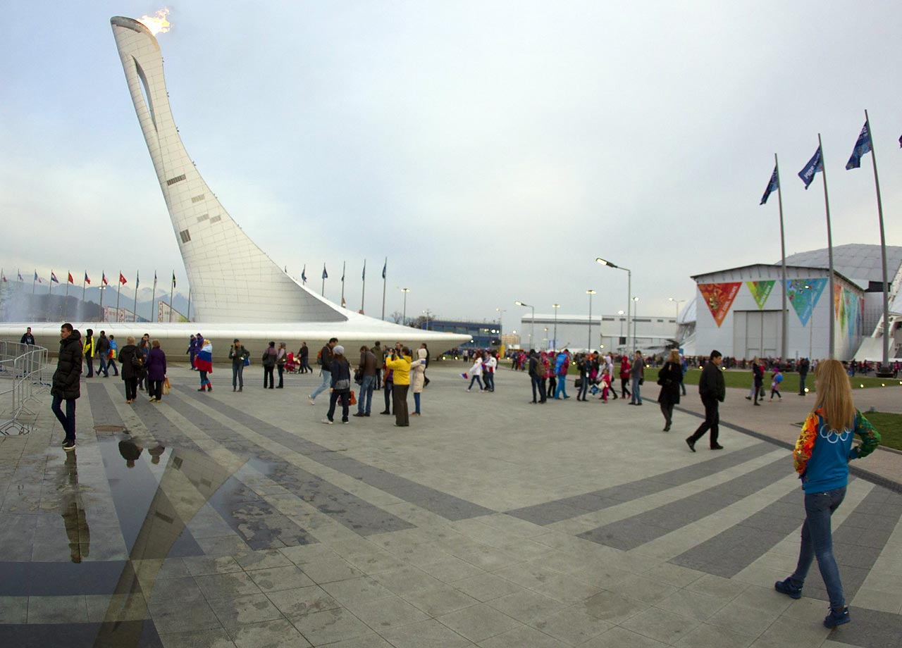 View of the Olympic Park and flame as the Olympics wind down.