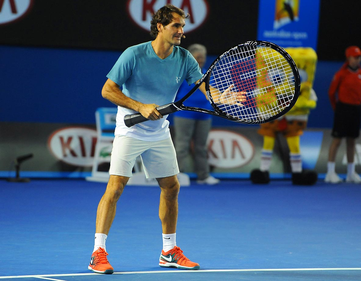 Roger Federer at a special event before the Australian Open.